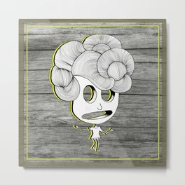 headache wood girl Metal Print