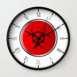 Red Bio Hazard Emergency Button Wall Clock