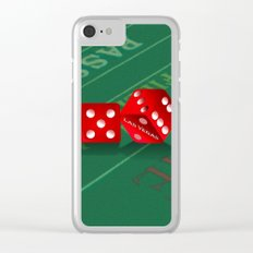 Craps Table & Red Las Vegas Dice Clear iPhone Case