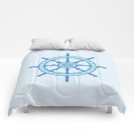 AFE Ship Wheel Light Blue, Nautical Art Print Comforters