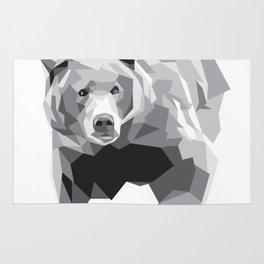 Geometric Bear on White Rug