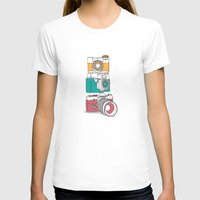 cameras T-shirts featuring Stacked Cameras by Benjamin.draws