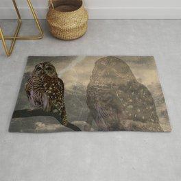 Rustic Barred Owl Bird Double Exposure A661 Rug