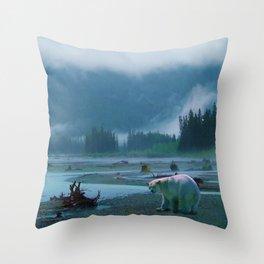 Great Spirit Bear and Misty River Throw Pillow