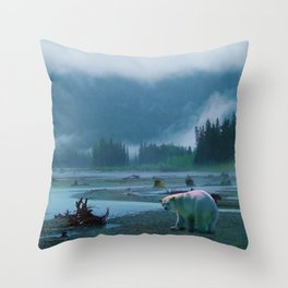 Great Spirit Bear and Misty River Throw Pillow