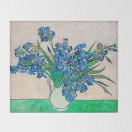 Irises by Vincent van Gogh Oil Painting Still Life Floral Arrangement In Vase Throw Blanket