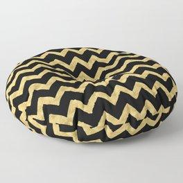 Chevron Black And Gold Floor Pillow