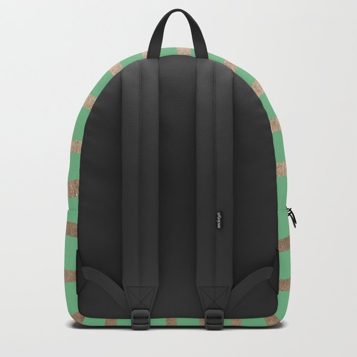 Abstract Drawn Stripes Gold Tropical Green Backpack