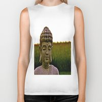 buddah Biker Tanks featuring A Peaceful Mind, Makes a Happy Heart by Biff Rendar