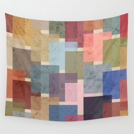 Vintage Colorful Squares Wall Tapestry