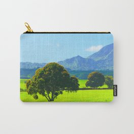 green tree in the green field with green mountain and blue sky background Carry-All Pouch