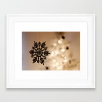 snowflake Framed Art Prints featuring Snowflake by Katie Estes