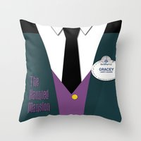 haunted mansion Throw Pillows featuring The Haunted Mansion Uniform by Tom Storrer