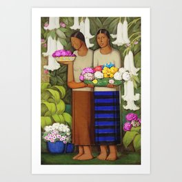 Flowers of Mexico, Angel's Trumpet, Tiger Lilies, Bougainvillea,& Peonies by Alfredo Martinez Art Print