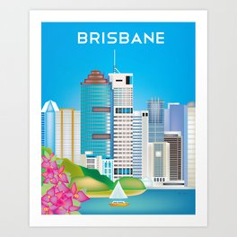 Brisbane, Australia - Skyline Illustration by Loose Petals Art Print