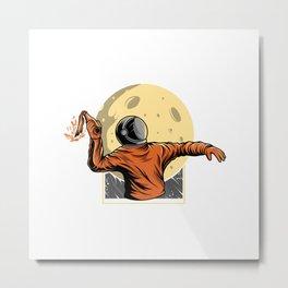 Astronaut Bring Molotov Illustration Metal Print