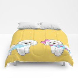 Bichon Frise Holidays yellow cute dogs, Christmas gift, holiday gift, birthday gift, dog, Bijon Comforters