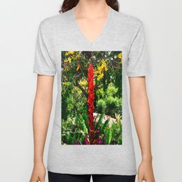 Alpinia purpurata – Red Ginger Flower, Nature in Bogota, Colombia Unisex V-Neck