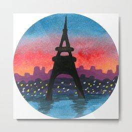 Eiffel Tower Sunset Landscape, Paris Night Watercolor Scenery Metal Print