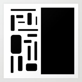 Half black geometric design Art Print