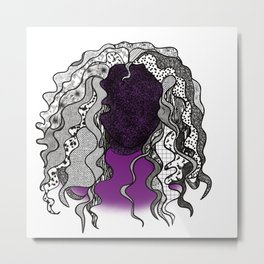 Graphic Curly Hair Frizzed Out Lady Metal Print