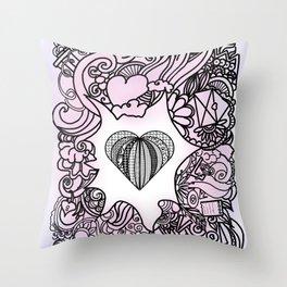 Love doodle . pink Throw Pillow