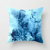 roses Throw Pillows featuring roses underwater by clemm