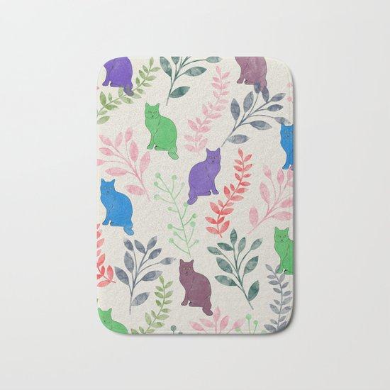 Watercolor Floral and Cat IX Bath Mat