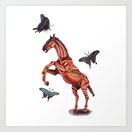 horse and butterfly Art Print