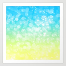 Blue and Yellow Bokeh Ombre Gradient Art Print