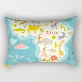 Animals world map, Africa. Beautiful cheerful colorful vector illustration for children and kids. Wi Rectangular Pillow