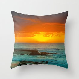 Sunset over childrens pool Throw Pillow