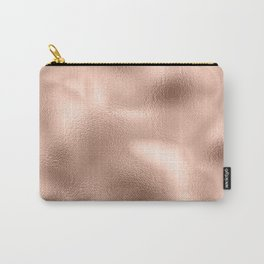 Rose Gold Metallic Texture Carry-All Pouch