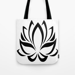 Black and White Lotus Flower Tote Bag