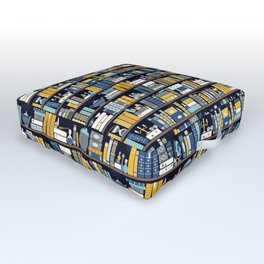 Book Case Pattern - Blue Yellow Outdoor Floor Cushion