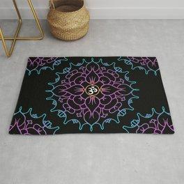 Colorful Mandala Yoga Vibe // Om Spiritual Mantra Mandala Rug