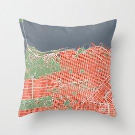 San Francisco city map classic Throw Pillow