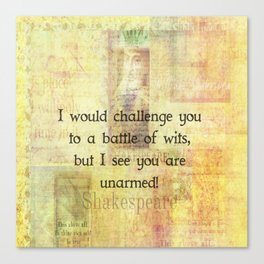 Funny Shakespeare Quote Canvas Print