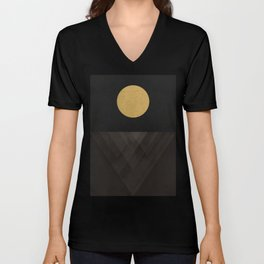 Moon Reflection on Quiet Ocean Unisex V-Neck