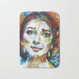 MARIA CALLAS - watercolor portrait.9 Bath Mat