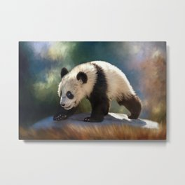Cute panda bear baby Metal Print