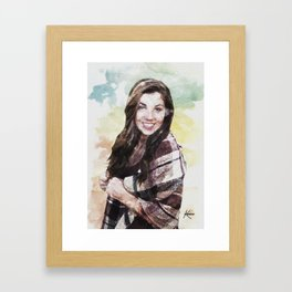 Watercolor Autumn Smiling Girl Framed Art Print