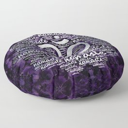 Pearl Namaste Word Art in Lotus with OM symbol on amethyst Floor Pillow