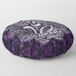 Pearl Namaste Word Art in Lotus with OM symbol on amethyst Floor Pillow