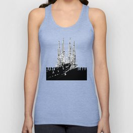 Barcelona city map black and white Unisex Tank Top