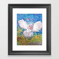Flying White  Owl Framed Art Print