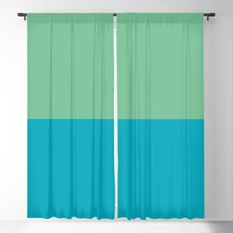 Aqua Blue - Green Horizontal Stripe Line Pattern 2021 Color of the Year AI Aqua and Quiet Wave  Blackout Curtain