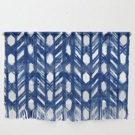 Indigo Geometric Shibori Pattern - Blue Chevrons on White Wall Hanging