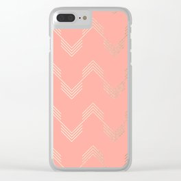 Simply Deconstructed Chevron White Gold Sands on Salmon Pink Clear iPhone Case