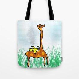 giraffe and the bird Tote Bag